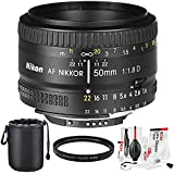 Nikon AF NIKKOR 50mm f/1.8D Prime Lens and Basic Accessory Bundle w/ Water Resistant Lens Pouch + UV Filter + Xpix Deluxe Camera Cleaning Kit