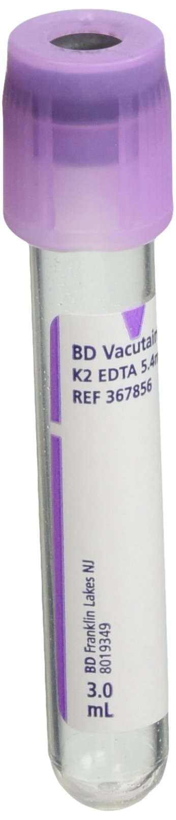 BD Medical Systems 367856 Plastic Tube, Hemogard Closure, Paper Label, 13 mm x 75 mm Size, 3 mL Capacity, Lavender (Pack of 100)