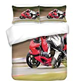 iPrint 3Pcs Duvet Cover Set,Teen Room Decor,Racing Motorcycle Athlete in Speed Turning on The Road Activity Picture,Multicolor,Best Bedding Gifts for Family/Friends