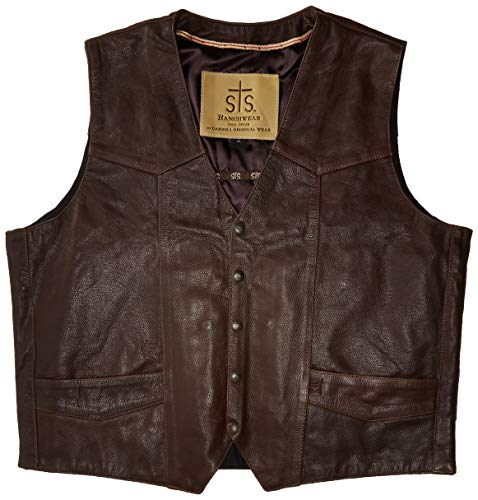 STS Ranchwear Men's Lightweight Classic Leather Vest (brandy, Extra Large)