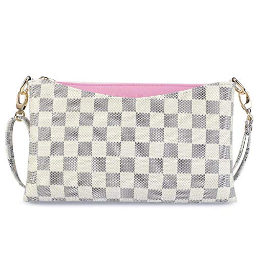 Small Checkered Crossbody Bag for Women Wristlet Clutch with Strap (White)