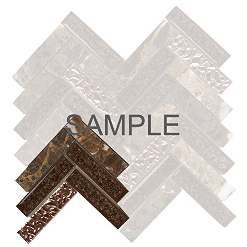 - Modket TDH167MO-S Sample Emperador Dark Brown Marble Stone Mosaic Tile, Crackle Glass, Rose Gold Glass Insert Blend Herringbone Pattern Backsplash