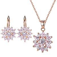 Bamoer Snowflake Earring Stud Necklace Pendants Jewelry Set Women Favorite Fashion 18K Gold Plated Jewelry Set Best Gift for Girlfriend