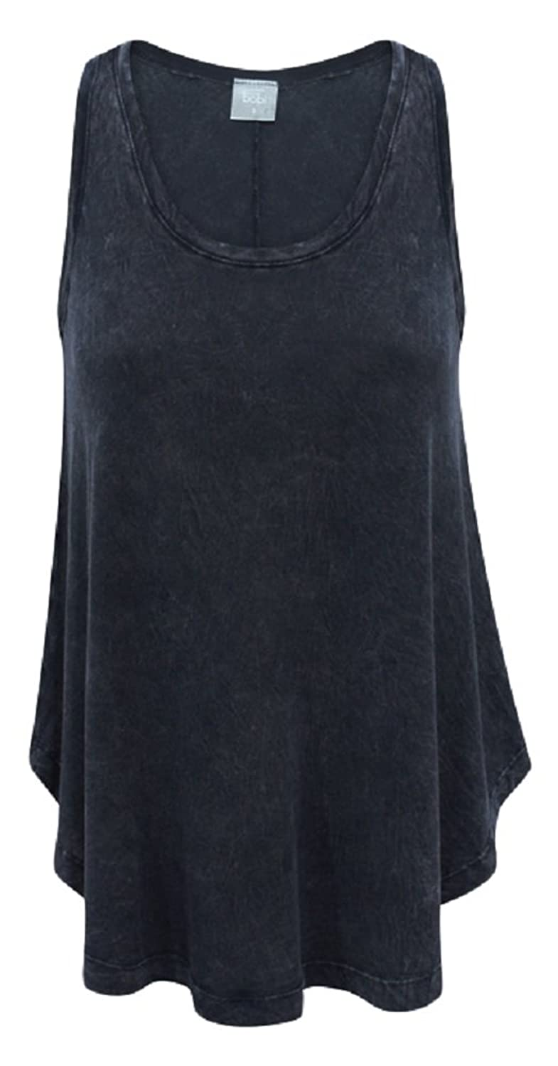 Bobi Distressed Black 100% Cotton Swing Tank Top