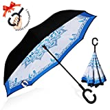 : ZOMAKE Double Layer Inverted Umbrella Cars Reverse Umbrella, UV Protection Windproof Large Straight Umbrella for Car Rain Outdoor With C-Shaped Handle(Blue and white porcelain)