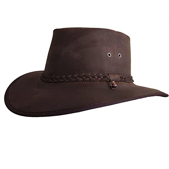 a18f6b262ed Leather Hat - Brown Waxy Hand Crafted - Cowboy Outback Aussie Style ...