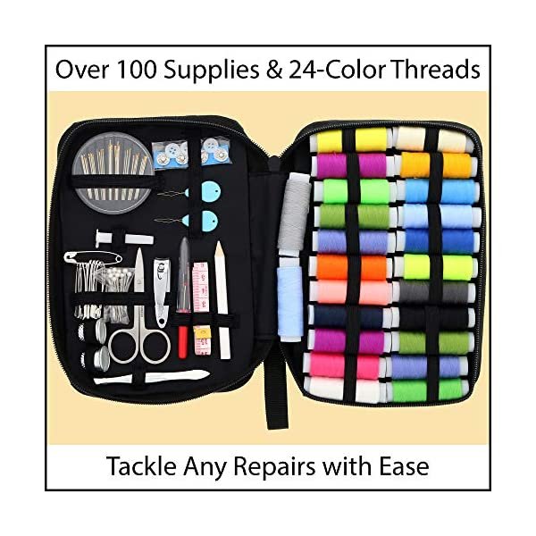 Sewing KIT, Premium Set has Over 100 Supplies & 24-Color Threads, a Smart  Solution for Emergency Clothing Repairs   Mini Mending Kit with  Accessories,