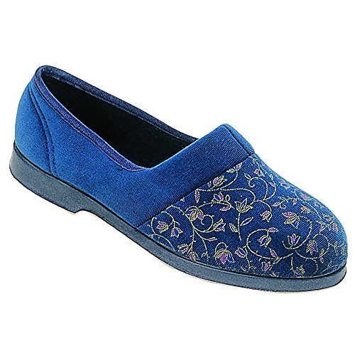 Womens Ladies GBS Zola Bootee Classic Extra Wide Fit Slip On Slipper Blue UK3-8 Rojo
