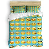 Emoji Covers for Beds Picpeak Home Bedding Set 4 Piece Duvet Cover Set Twin Size Classic Emojis Soft Bed Sheets, Duvet Cover, Flat Sheet and Pillow Covers for Children/Adults/Teen