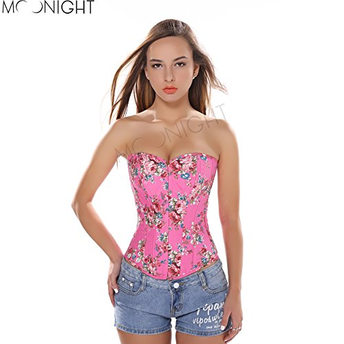 - Topry (TM) Floral Pattern Fantasy Burlesque Denim Corset with Strapless Overbust Bustier Top Women's Waist Training Corselet