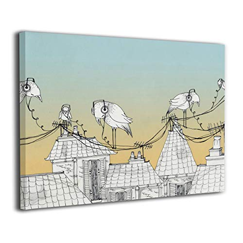 (Little Monster Birds Listening to Music Stretched Printing On Canvas Wall Decorations Occident Style Art for Boys and Girls Bedroom)