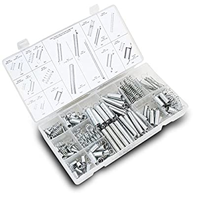 200 Piece Compression And Extension Spring Assortment Hardware Steel Set- Convenient Assorted Kit Comes In 20 Sizes/Styles- By Katzco