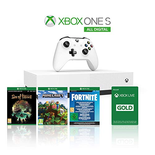 Xbox One S 1TB All Digital Edition Console + 1 Mese Xbox Live Gold + 3 Digital Games Inclusi (Sea of Thieves, Minecraft…