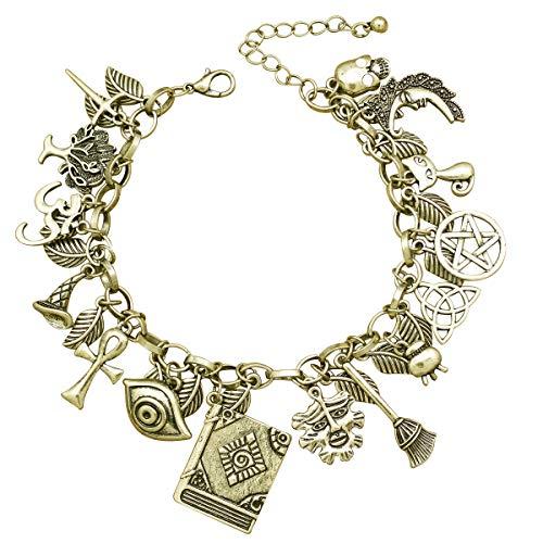 RechicGu Vintage Gold Mythology Fairytale Lucky Charms Cuff Bangle Bracelet Cross Leaf Moon Face Celtic Cat