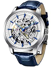 Pagani Design Automatic Men's Watch with Transparent Skeleton Mechanism - Waterproof Men's Wrist Watch That Protects up to 30 Meters with Genuine Leather Strap & Stainless-Steel Case & Mineral Glass