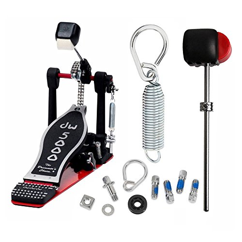 DW DWCP5000TD4 Turbo Single Bass Pedal Deluxe Bundle Includes DWSM107 Flyweight Beater, Drum Key Screw, Spring with Felt Insert and Rocker Assembly with Bearing (K2 Insert Screw Kit)