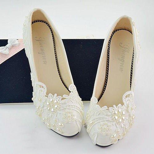 alto del hechas JINGXINSTORE hechos del mujeres del a mano cordón de zapato a boda la tacón Zapatos perla de las corazón blanco mano la del de xOnxw6