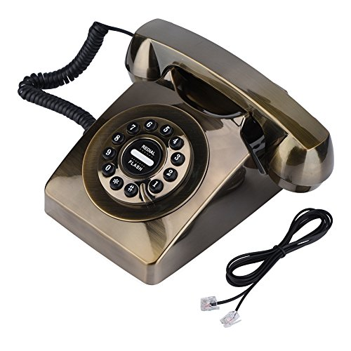 fosa Antique Retro Corded Telephone Classic Old Fashioned Landline PhoneTelephone for Home Hotel (Gold)
