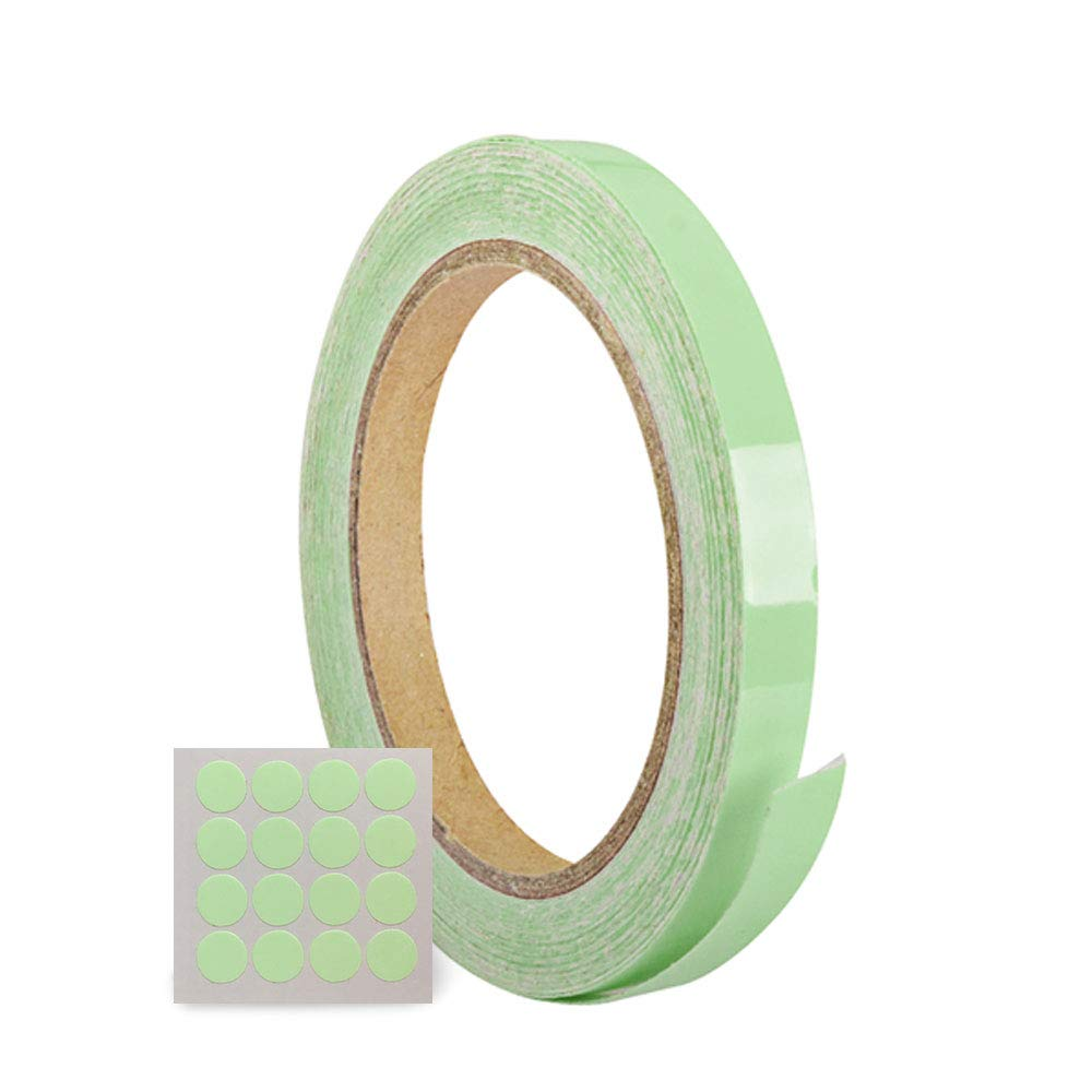 SHiZAK New 1 Roll Removable, Waterproof, Photoluminescent Green Luminous Tape Sticker Grow in the Dark Safety Tape (1cm*10m) with 1pcs Small Round Luminous Tape Sticker