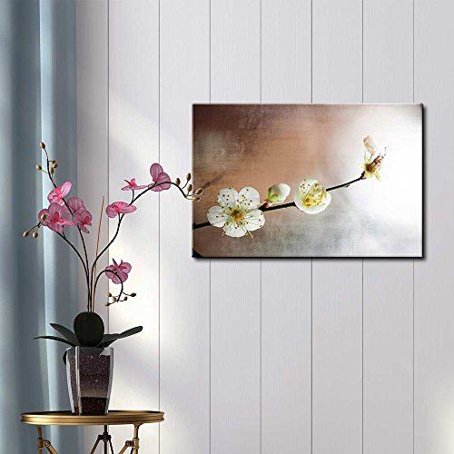 Cherry Blossom Branch Over a Copper and Silver Background