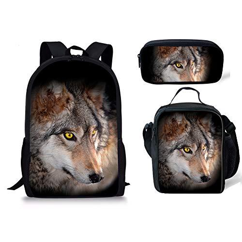Wolf 3pcs 4 Cartable 1 Noir Moyen Fox Chaqlin RxPpX