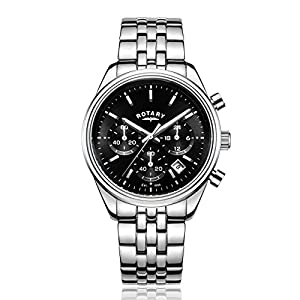 Rotary Men's Quartz Watch with Black Dial Chronograph Display and Silver Stainless Steel Bracelet GB00350/04