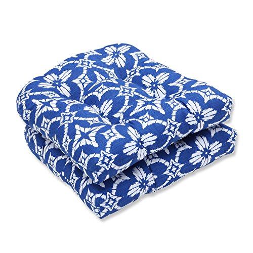 Pillow Perfect Outdoor Indoor Aspidoras Wicker Seat Cushion Set of 2 , Cobalt