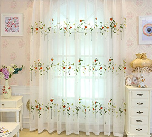 Pureaqu Luxury Sheer Window Treatment Fashion New Voile Rod Pocket Process 84'' Modern Embroidered Drape 1Panel (Embroidered Voile Curtains)