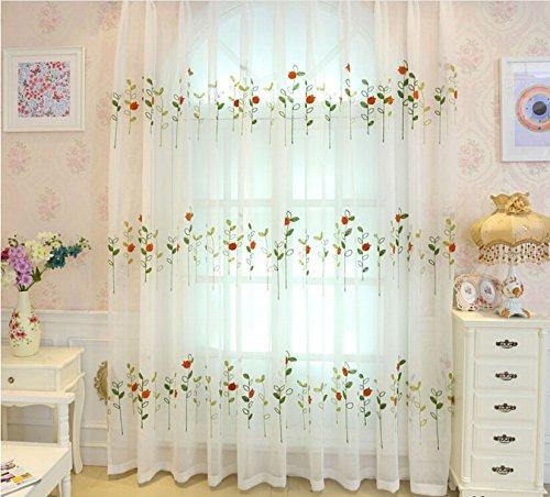 84' Sheer Curtain Panel (Pureaqu Luxury Sheer Window Treatment Fashion New Voile Rod Pocket Process 84'' Modern Embroidered Drape 1Panel)