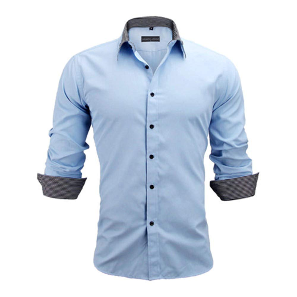 776657492a20f Sky Sky Sky bluee 566 ShowTimes Men Shirts Europe Size Slim Fit Male Shirt  Solid Long Sleeve d52ddd