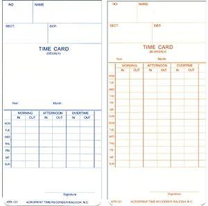 bi weekly time cards