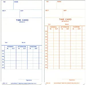 """Acroprint 09-9110-000 Payroll Recorder Time Cards ATR121, For the ATR120 Time Clock, Pack of 250 Cards, Weekly/Bi-Weekly, English, 3-3/8"""" x 7-1/4"""""""