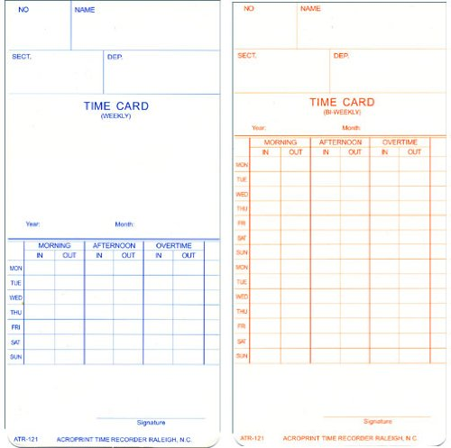 Acroprint Time Recorder Co. Acroprint 09-9110-000 Payroll Recorder Time Cards ATR121, for The ATR120 Time Clock, Pack of 250 Cards, Weekly/Bi-Weekly, English, 3-3/8-Inch X 7-1/4-Inch