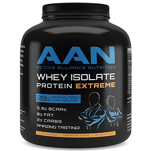 AAN's Amazing Tasting Whey Isolate Protein Powder- 28 Grams of Pure Whey Iso Protein, Fat Free, Low Carb, Meal Replacement, Preworkout and Post Workout Shake (4lbs., Cinnamon Swirl)