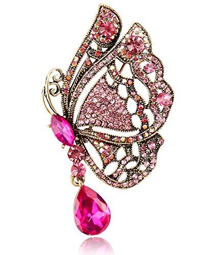 Gyn&Joy Women's Austrian Crystal Fuchsia Pink Butterfly Pendant Brooch BZ226 ()
