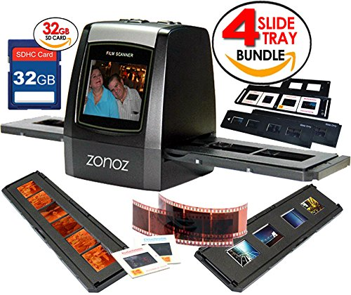 zonoz FS-ONE 22MP Ultra High-Resolution 35mm Negative Film & Slide Digital Converter Scanner w/ TV Cable, (1) Negative, (4) Slide Trays, 32GB SD Card & Worldwide Voltage 110V/240V AC Adapter (Bundle)