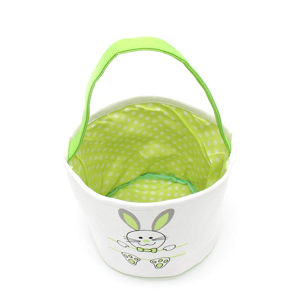 Easter Bunny Basket for Kids Purple Canvas Tote Bags Buckets for Easter Eggs