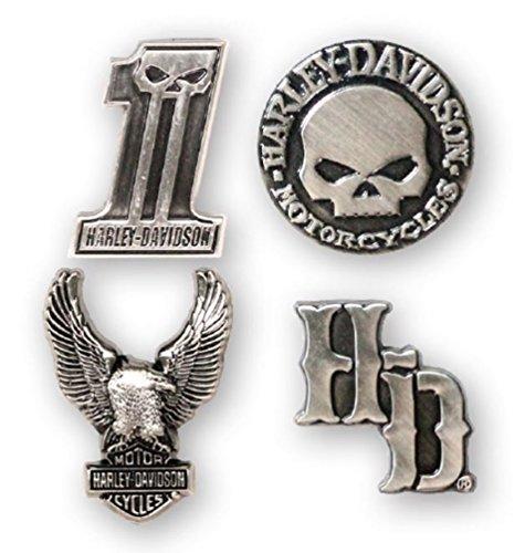 Harley-Davidson Dark Custom 3D Die Cast Magnet Set, Set of 4, Silver DM25230