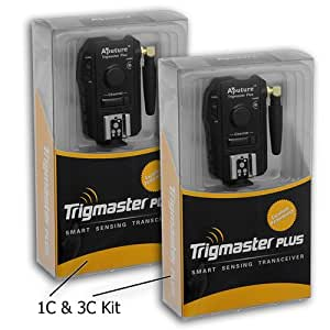 Aputure Trigmaster Plus Kit (2 Transceivers) for Canon EOS Digital Rebel T3, T3i, T4i, T5i, SL1, 70D, 60D, 50D, 40D, 30D, 7D, 5D, Mark II, III, IV, 1DC, 1DX, and Speedlite 430EX, 430EX-ii, 580EX, 580EX-II, 600EX-RT