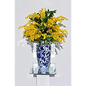 Luxurious Yellow Mimosa and Green Bay Leave Floral Table Arrangement w/ Ginger Vase 3
