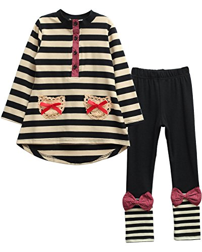 Ancia Baby Girl Kids Toddlers Long Sleeve Top Pant Legging Set strip black 130 (6-7 years) -