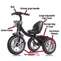 LittleBambino RideOn Pedal Tricycle Children Kids Smart Design 3 Wheeler   Black   CE Approved Air Wheels Adjustable Seat Metal Frame Bell