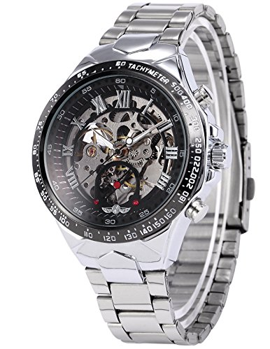 AMPM24 Silver Steel Skeleton Dial Automatic Mechanical Men's Black Round Watch (Mens Steel Mechanical Watch)