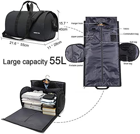 Carry on Garment Bags AUGUR Suit Travel Duffel Bag with Shoes Compartment 55L Water Resistant Tote Bag for Travel Business Black 21x11x15 inch