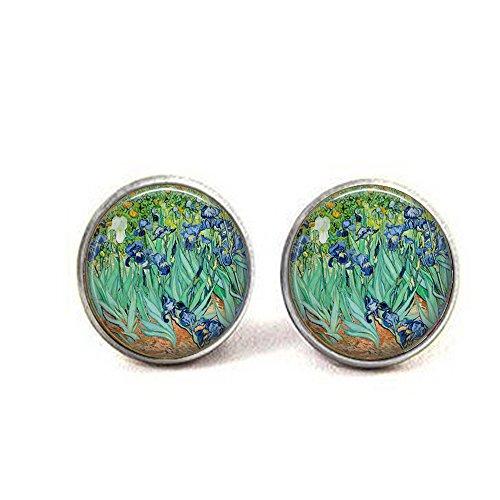 - feng qing Irises by Vincent Van Gogh - Impressionist Flowers Earrings - Van Gogh Earrings - Iris Earrings - Blue Iris