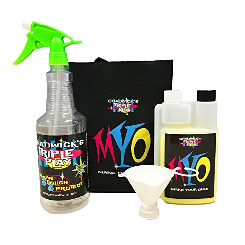 Chadwicks Car Cleaning Kit, Interior And Exterior Concentrated Auto Cleaner Supplies With Triple Play MYO Make Your Own Kit – 128oz