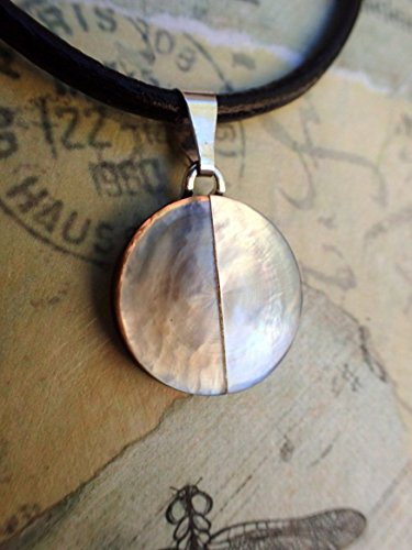 other of Pearl & White MOP Button Pendant Necklace, Inlaid MOP Button, Leather Cord, Handmade Necklace, MPN262 (Inlaid Mop)