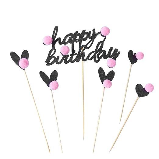 BESTONZON Cake Topper Happy Birthday Cake Topper Decoración de cumpleaños Cake Picks para bodas y feliz cumpleaños (6pcs)