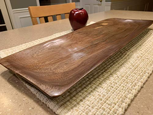 Solid walnut tray hand carved by Java Woodworks. Dimensions: 19