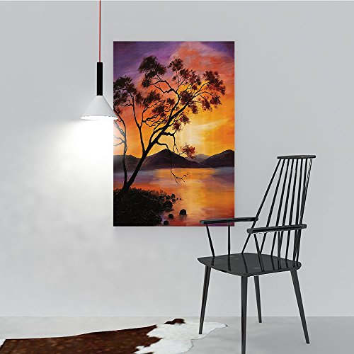Philip C. Williams Modern Wall Art Decor Frameless Old Tree nding Over The River with Mountain Landscape SunBa for Home Print Decor for Living Room W24 x H36 ()